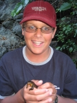 Joey gets to know a salamander on the rogue river