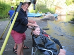 Emily gets the royal treatment from Neely-our wonderful guide from Ouzel outfitters