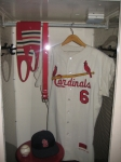 An exhibit showing Stan Musial's locker.