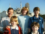 Our new friends: Tom, Bryn, Helen, tommy and Simon. atop the Hotel Dersaadet. Istanbul turkey.  (Note Blue mosque in bac