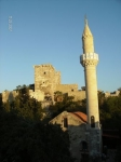 Islam meets christianity.  A mosque in front of the crusader's castle.  bodrum turkey