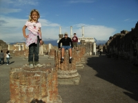 Cami atop the ruins of Pompeii