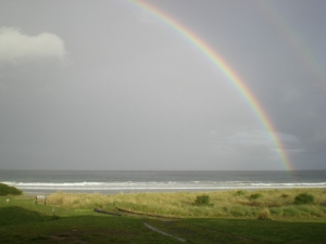 A rainbow along the Tasman coast
