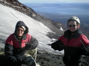 Joe and Tommy ascend the Villarica Volcano May 11