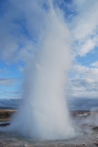 Strokkur.  Iceland's most reliable geysir erupts